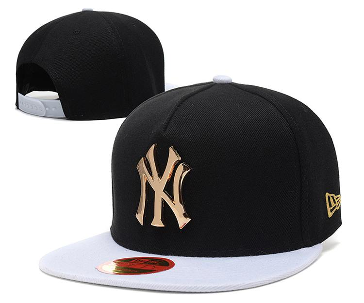 a77a766d2df MLB 棒球帽New York Yankees Iron standard hip-hop hat 紐約洋基隊MLB棒球帽黑金白可調節帽子OA1660